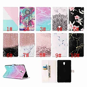 cheap Samsung Case-Case For Samsung Galaxy Tab A2 10.5(2018) / Samsung Tab S5e T720 10.5 Magnetic / Flip / with Stand Full Body Cases Marble Hard PU Leather for Samsung Tab A 10.1(2019)T510 / Tab S4 10.5 (2018)