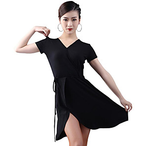 cheap Latin Dancewear-Latin Dance Dress Sashes / Ribbons Split Women's Training Performance Short Sleeve Modal