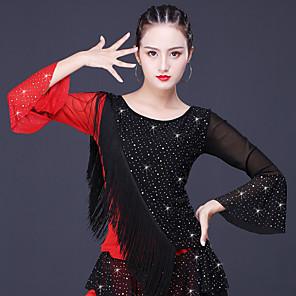 cheap Latin Dancewear-Latin Dance Top Glitter Tassel Split Joint Women's Training Performance Long Sleeve Milk Fiber Polyester