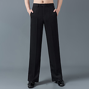 cheap Latin Dancewear-Latin Dance Pants Pleats Men's Training Performance High POLY Cotton