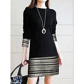 cheap Women's Boots-Women's Sheath Dress - 3/4 Length Sleeve Geometric Stripes Stripe Color Block Spring Fall Casual Daily Slim Black S M L XL XXL XXXL / Cotton