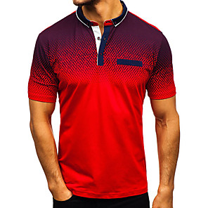 cheap Wetsuits, Diving Suits & Rash Guard Shirts-Men's Polo Color Block Patchwork Slim Tops Cotton Basic Street chic Shirt Collar White Black Blue / Short Sleeve