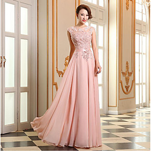 cheap Prom Dresses-A-Line Empire Pink Prom Formal Evening Dress Illusion Neck Sleeveless Floor Length Georgette Beaded Lace with Appliques 2020