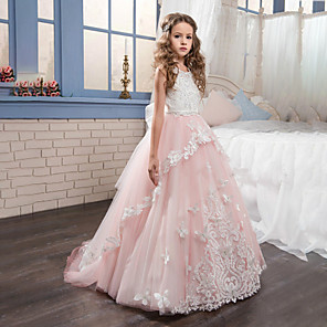 cheap Movie & TV Theme Costumes-Princess Sweep / Brush Train Party / Birthday / Pageant Flower Girl Dresses - Cotton / nylon with a hint of stretch / Lace / Tulle Sleeveless Jewel Neck with Lace / Bow(s) / Appliques
