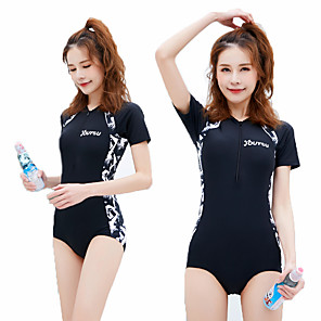 cheap Athletic Swimwear-Women's One Piece Swimsuit Padded Swimwear Swimwear Blue Black Breathable Quick Dry Ultra Light (UL) Short Sleeve - Swimming Surfing Water Sports Autumn / Fall Spring / Micro-elastic
