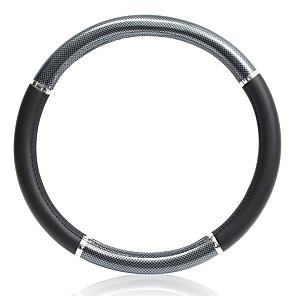 economico Copristerzo per auto-38 cm nero e argento antiscivolo respirare copri volante in pelle in fibra di carbonio per auto protezione per ruote universale