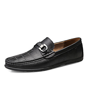 cheap Men's Slip-ons & Loafers-Men's Formal Shoes Leather / Cowhide Spring & Summer Business Loafers & Slip-Ons Warm Black / Brown / Outdoor