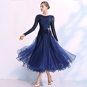 cheap Ballroom Dancewear-Ballroom Dance Dress Split Joint Crystals / Rhinestones Women's Training Performance Long Sleeve Spandex Organza Polyster