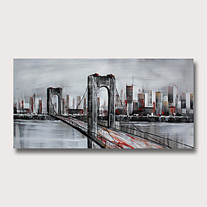 cheap Abstract Paintings-Oil Painting Hand Painted - Abstract Famous Modern Rolled Canvas