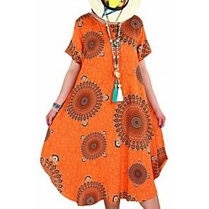 cheap Cycling Jerseys-Women's Swing Dress Midi Dress - Short Sleeve Floral Summer Vintage Chinoiserie Loose 2020 White Black Blue Red Yellow Blushing Pink Orange S M L XL XXL XXXL