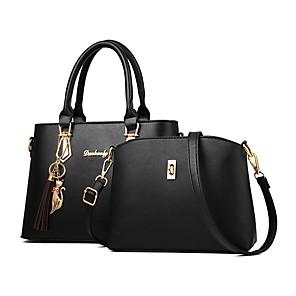 cheap Women's Heels-Women's Bow(s) / Zipper PU(Polyurethane) / PU Bag Set Solid Color 2 Pieces Purse Set Black / Wine / Blushing Pink / Fall & Winter