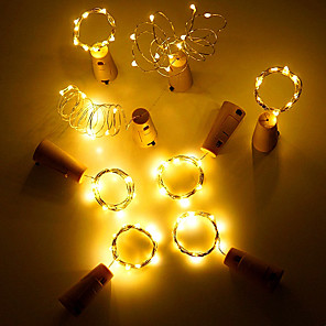 cheap LED String Lights-4pcs/lot Wine Bottle Stopper Cork Copper Wire 2M-20leds 3Modes Waterproof Starry String Lights for Valentines Wedding party