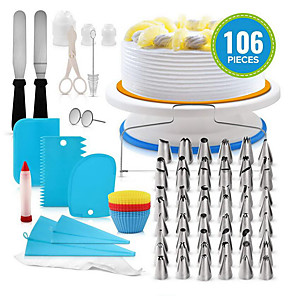 cheap Storage & Organization-100pcs Silicone Plastic Stainless steel Multifunction DIY For Cake For Cookie Multifunction Baking & Pastry Tools Bakeware tools