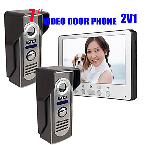 cheap Video Door Phone Systems-815M21 Ultra-thin 7-inch wired video doorbell HD villa one indoor unit two outdoor unit video intercom outdoor unit night vision rain unlock function
