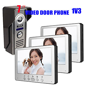 cheap Video Door Phone Systems-Ultra Thin 7 inch Wired Video Doorbell Doorphone HD Villa One to Three Visual Intercom Outdoor Unit Night Vision Watefproof Unlock Function 700TVL 1/4 Inch Color CMOS Camera Wall Mounting Hands Free