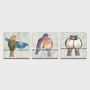 cheap Abstract Paintings-Print Stretched Canvas Prints - Animals Birds Modern Three Panels Art Prints