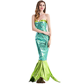 cheap Movie & TV Theme Costumes-The Little Mermaid Cosplay Costume Masquerade Adults' Women's Mermaid and Trumpet Gown Slip Halloween Christmas Halloween Carnival Festival / Holiday Polyster Green Carnival Costumes Holiday