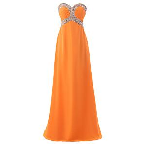 cheap Evening Dresses-A-Line Empire Sparkle Wedding Guest Formal Evening Dress Sweetheart Neckline Sleeveless Floor Length Chiffon with Crystals 2020
