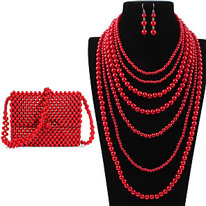 cheap Jewelry Sets-Women's Drop Earrings Necklace Earrings Beaded Simple Luxury Classic Vintage Imitation Pearl Earrings Jewelry Red For Wedding Party Engagement Gift Street Three-piece Suit / Pearl Necklace