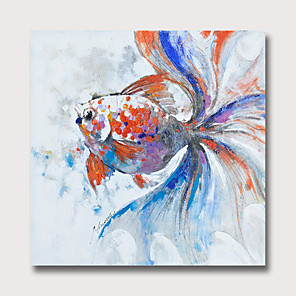 cheap Tattoo Power Supplies-Oil Painting Hand Painted - Abstract Animals Modern Rolled Canvas
