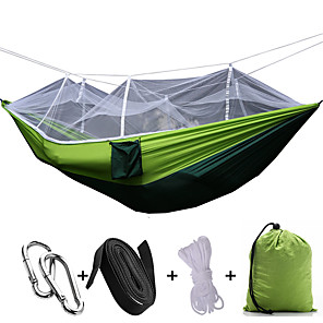 cheap Camping Furniture-Camping Hammock with Mosquito Net Double Hammock Outdoor Portable Breathable Quick Dry Anti-Mosquito Ultra Light (UL) Parachute Nylon with Carabiners and Tree Straps for 2 person Hunting Fishing