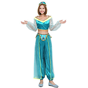 cheap Movie & TV Theme Costumes-Princess Movie / TV Theme Costumes Uniforms Cosplay Costume Costume Adults' Women's Halloween Christmas Halloween Carnival Festival / Holiday Satin Polyster Blue Women's Easy Carnival Costumes / Top