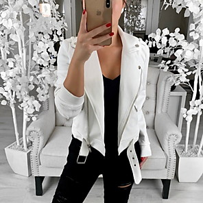 cheap Tattoo Stickers-Women's Daily Basic Regular Leather Jacket, Solid Colored Shirt Collar Long Sleeve Polyester White / Black