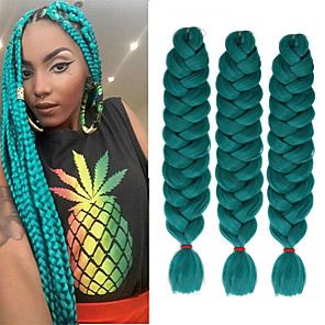 cheap Synthetic Lace Wigs-Straight Jumbo Crochet Hair Braids Synthetic Extentions Natural Color Synthetic Hair Braids Braiding Hair 3 Pieces Heat Resistant