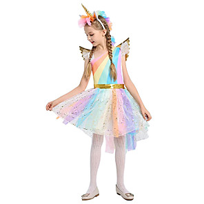 cheap Movie & TV Theme Costumes-Unicorn Dress Cosplay Costume Wings Girls' Movie Cosplay A-Line Slip Cosplay Halloween Blue Dress Wings Headwear Christmas Halloween Carnival Tulle Cotton