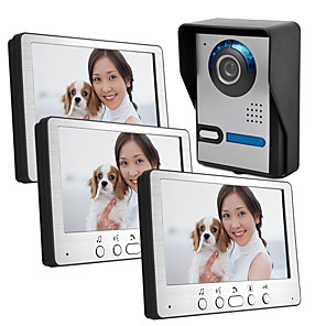 cheap Video Door Phone Systems-815FA13 Wired 7 inch video intercom doorbell an external machine three internal machine villa type video intercom with night vision rain unlock function
