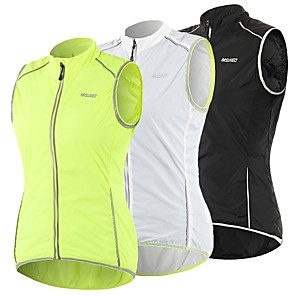 cheap Cycling Jersey & Shorts / Pants Sets-Arsuxeo Women's Cycling Vest Polyester Green White Black Bike Vest / Gilet Windproof UV Resistant Quick Dry Reflective Strips Back Pocket Sports Solid Color Mountain Bike MTB Road Bike Cycling