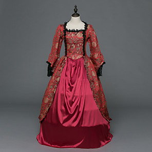 cheap Historical & Vintage Costumes-Princess Maria Antonietta Floral Style Rococo Victorian Renaissance Dress Party Costume Masquerade Women's Lace Costume Red Vintage Cosplay Christmas Halloween Party / Evening 3/4 Length Sleeve Floor