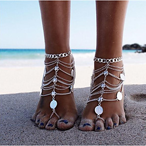 cheap Necklaces-Barefoot Sandals Ankle Bracelet Simple Casual / Sporty Fashion Women's Body Jewelry For Daily Carnival Coin Alloy Gold Silver 1pc