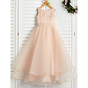 cheap Wedding Wraps-A-Line Jewel Neck Ankle Length Organza / Satin Junior Bridesmaid Dress with Beading / Tier