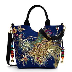 cheap Handbag & Totes-Women's Embroidery Canvas Top Handle Bag Embroidery Blue / Black / Red / Fall & Winter
