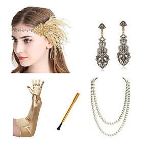 cheap Costumes Jewelry-Charleston Vintage 1920s The Great Gatsby Costume Accessory Sets Gloves Flapper Headband Women's Feather Costume Necklace Earrings Black / Golden / Golden+Black Vintage Cosplay Festival