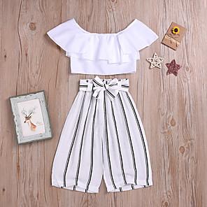 cheap Boys' Clothing Sets-Kids Girls' Basic Street chic Striped Solid Colored Bow Lace up Sleeveless Regular Regular Clothing Set White