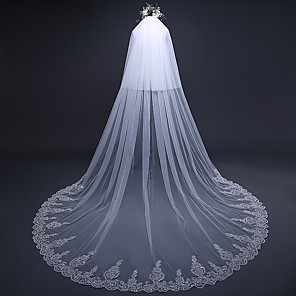 cheap Wedding Veils-Two-tier Elegant & Luxurious / European Style Wedding Veil Cathedral Veils with Sequin / Appliques 118.11 in (300cm) Lace / Tulle / Oval