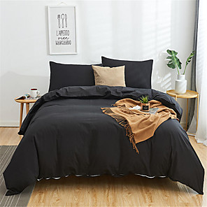 cheap Solid Duvet Covers-Duvet Cover Sets Solid Colored Cotton Yarn Dyed 4 PieceBedding Sets