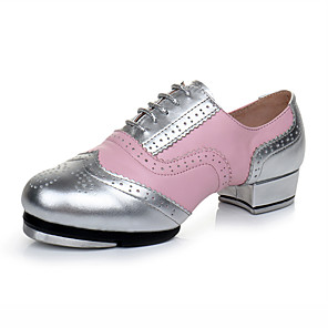 cheap Swing Shoes-Girls' Dance Shoes Faux Leather Tap Shoes Heel Thick Heel Customizable Silver / Performance / Practice