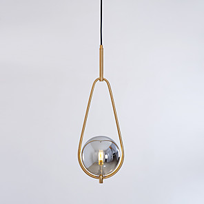 cheap Pendant Lights-1-Light 20 cm Adjustable Pendant Light Metal Glass Electroplated LED / Modern 110-120V / 220-240V