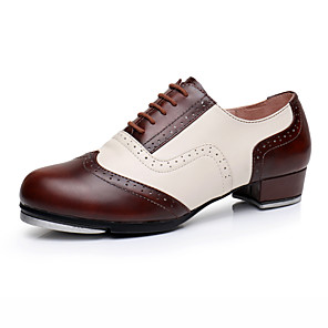 cheap Swing Shoes-Men's Dance Shoes Leather / Cowhide Tap Shoes Heel Thick Heel Customizable Dark Red / Performance / Practice