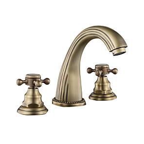 cheap Bathroom Sink Faucets-Bathroom Sink Faucet - Widespread Antique Copper / Black Centerset Two Handles One HoleBath Taps