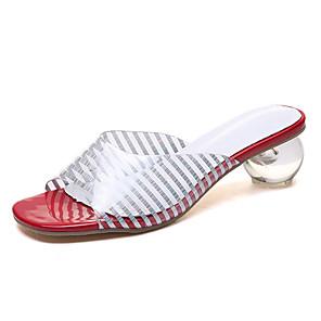cheap Men's Bags-Women's Sandals Clear / Transparent / PVC PU Lucite Heel Summer Red / White