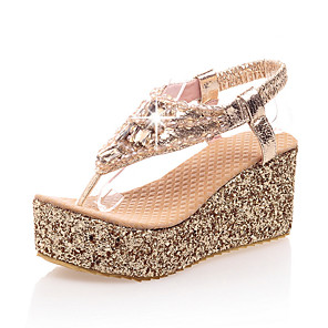 cheap Women's Sandals-Women's Sandals Wedge Sandals Glitter Crystal Sequined Jeweled Summer Wedge Heel Open Toe British Preppy Party & Evening Beach Rhinestone PU Gold / Silver