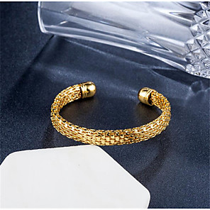 cheap Necklaces-Women's Cuff Bracelet Classic Faith Stylish Gold Plated Bracelet Jewelry Gold / Silver For Gift Daily