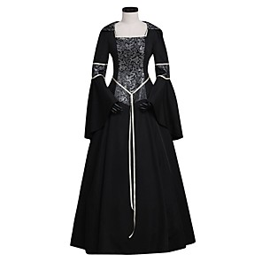 cheap Lolita Dresses-Princess Maria Antonietta Floral Style Rococo Victorian Renaissance Dress Party Costume Masquerade Women's Lace Costume Black Vintage Cosplay Christmas Halloween Party / Evening 3/4 Length Sleeve