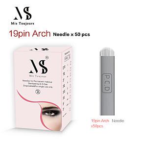 cheap Permanent Makeup Kits-50pcs Manual Microblading Needles 19PIN U Shape Tebori Tattoo Blades For Permanent Makeup
