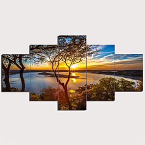 cheap Prints-Print Stretched Canvas Prints - Landscape Traditional Modern Five Panels Art Prints