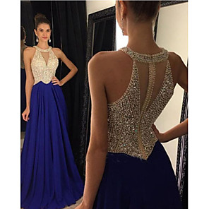 cheap Clutches & Evening Bags-A-Line Elegant Sparkle & Shine Formal Evening Dress Jewel Neck Sleeveless Sweep / Brush Train Chiffon with Beading Sequin 2020